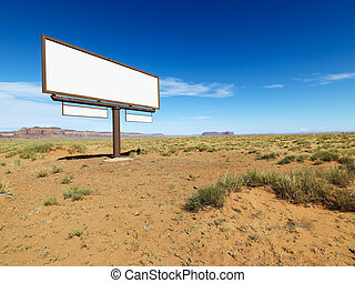 Desert billboard - Blank billboard in middle of desert...