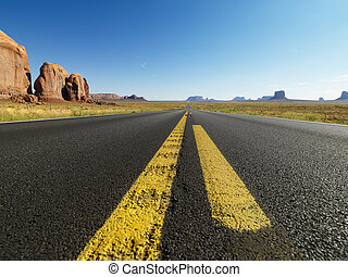 Open desert road. - Open highway in scenic desert landscape...