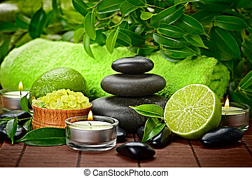 spa still life - spa composition with lime and toning sea...