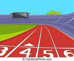 American Football Stadium. Cartoon Background. Vector...