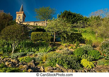 Bell tower with garden on a hill