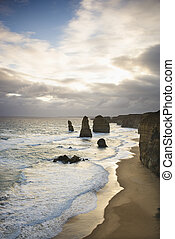 Land formation at coast - Twelve Apostles rock formation on...