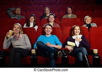 regarder, groupe,  cinéma, film, gens, Sourire