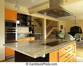 Kitchen and dining room - Interior of modern house: kitchen...