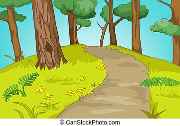Forest Glade. Cartoon Background. Vector Illustration EPS...