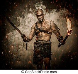 Gladiator, posición, Humo, antorcha, espada