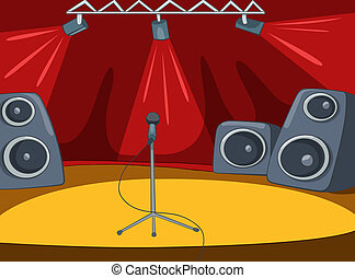 Rock and Roll Stage Cartoon - RockRoll Stage with Musical...