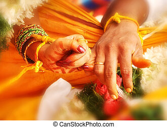 wedding hands in India marriage - couple wedding hands in...