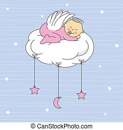 baby girl dressed angel sleeping on a cloud Birth Card