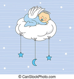 baby boy dressed angel sleeping on a cloud. Birth Card