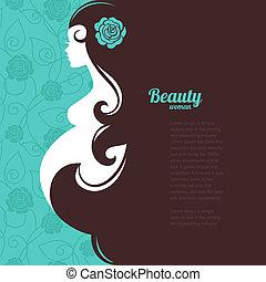 grávida, mulher, silueta
