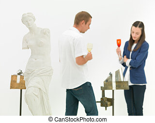 conversation about art in museum
