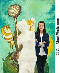 happy art gallery owner