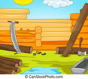 House Construction Cartoon Background Vector Illustration...