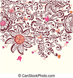 Floral background hand drawn design in pink