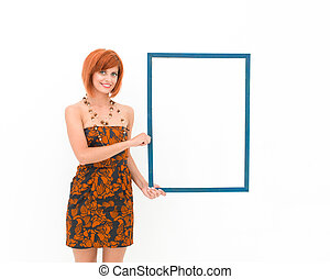 beautiful woman holding wooden frame - front view of woman...