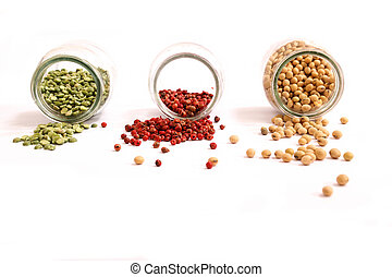 Spices and legumes - Variety of spices and legumes in a...