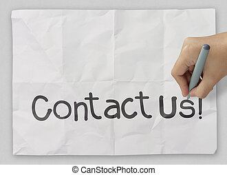 Hand writing Contact us as concept