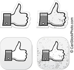 Facebook like it grunge button - Like it thumb up grunge...