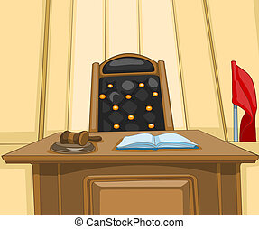 Court Cartoon - Law Court. Cartoon Background. Vector...