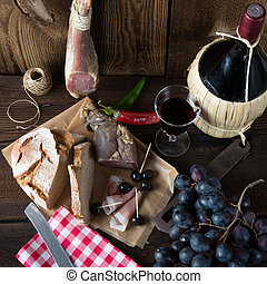 Ham, wine and bread