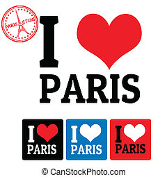 I love Paris sign and labels