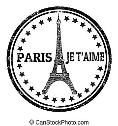 Paris je t'aime stamp - Abstract grunge rubber stamp with...