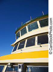 Ferryboat. - Detail of ferryboat showing windows and...