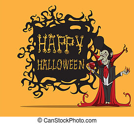 Cartoon Count Dracula. Halloween