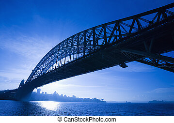 Bridge, Sydney, Australia - Sydney Harbour Bridge at dusk...