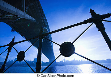 Sydney Harbour Bridge, Australia. - Low angle view at dusk...