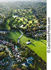 Golf course, Australia. - Aerial view of Ryde Parramatta...