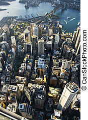 Sydney Australia downtown - Aerial view of downtown Sydney,...