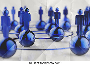 3d stainless human social network and leadership on crumpled...