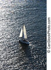 Boat sailing. - Aerial view of sailboat in Sydney,...