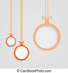 Xmas balls on textured paper - Christmas background of...