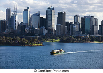 Sydney, Australia skyline. - Aerial view ferryboat crossing...