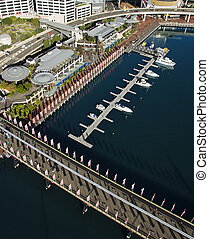 Pyrmont Bridge, Australia - Aerial view of Pyrmont Bridge...