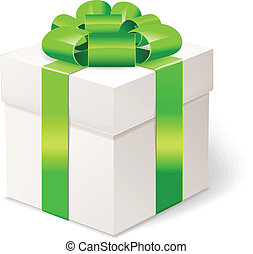 White gift box with bows and green ribbon.