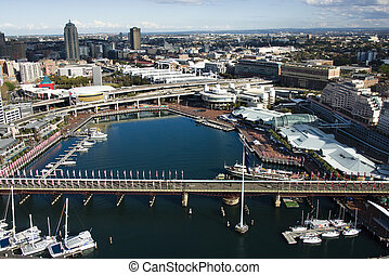 Darling Harbour, Australia - Aerial view of Pyrmont Bridge...