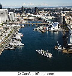 Darling Harbour, Australia - Aerial view of ships and boats...