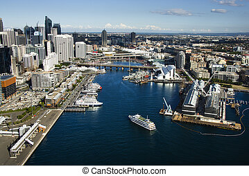 Darling Harbour, Sydney. - Aerial view of ships and boats in...