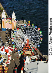 Amusement park - Aerial view of ferris wheel in Luna Park...