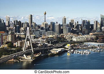 Sydney, Australia aerial - Aerial view of Anzac Bridge and...