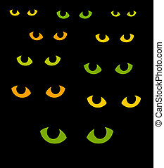 Cat eyes - Green and yellow cat eyes in darkness. Vector...