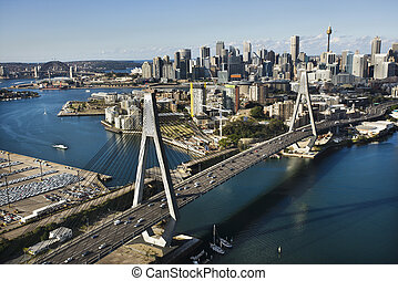 Sydney, Australia. - Aerial view of Anzac Bridge and...