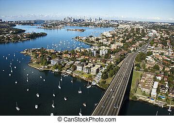 Bridge, Sydney, Australia. - Aerial view of Victoria Road...