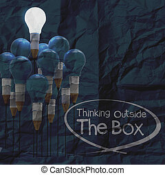 drawing idea pencil and light bulb concept think outside the...