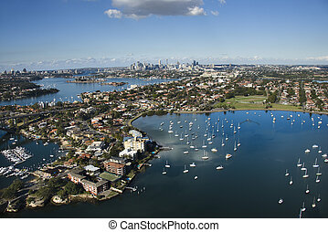 Sydney Australia aerial - Aerial view of boats and buildings...