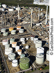 Oil refinery aerial - Aerial view of oil refinery in...
